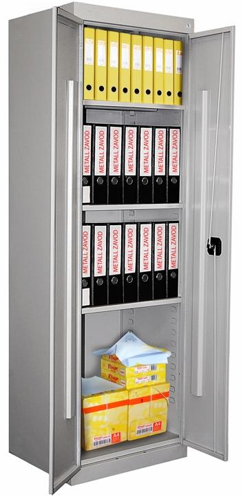 Металлический архивный шкаф с тремя регулируемыми полками.
