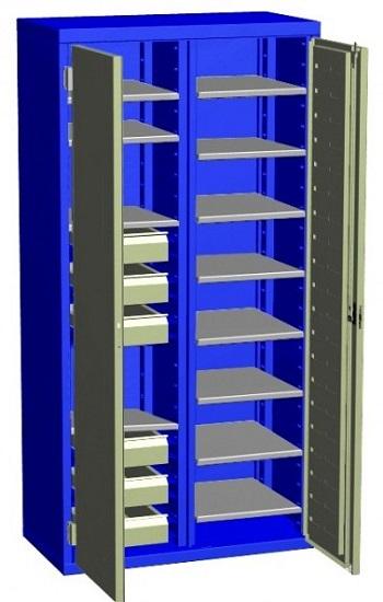 Двухсекционный шкаф с полками.