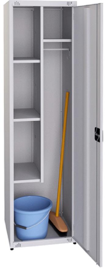 Шкаф для хранения рабочей одежды и инвентаря уборщицы.