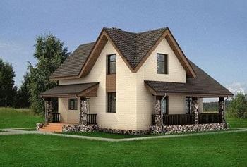 Дачный дом, построенный из легковозводимых металлоконструкций.