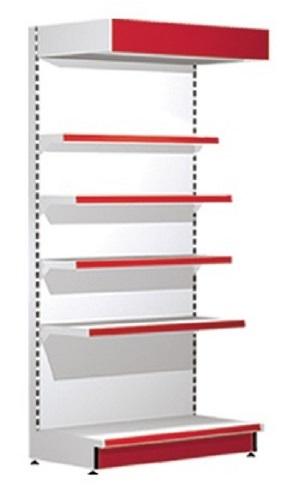Стеллаж пристенный для штучного товара c цветным фризом.